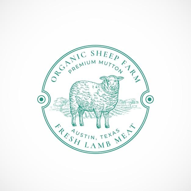 羊牧場フレームのレトロなバッジまたはロゴ 無料ベクター