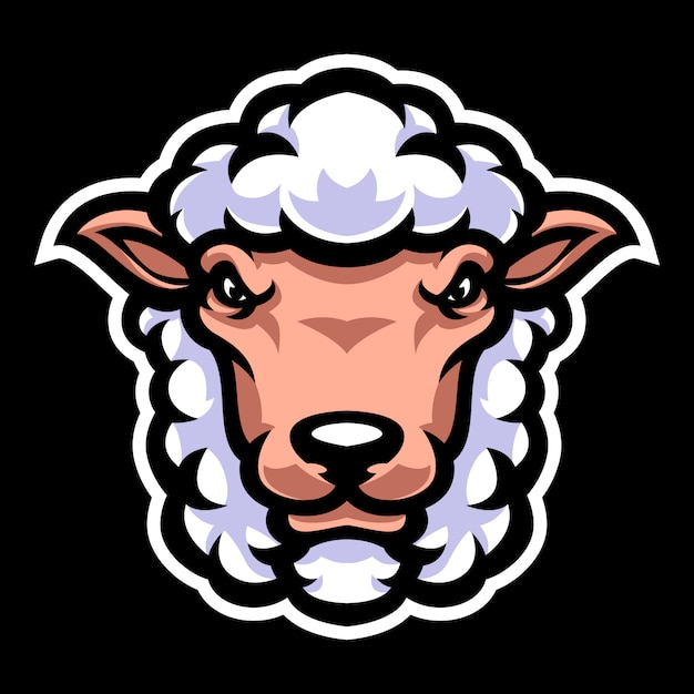 Sheep head mascot logo template Premium Vector