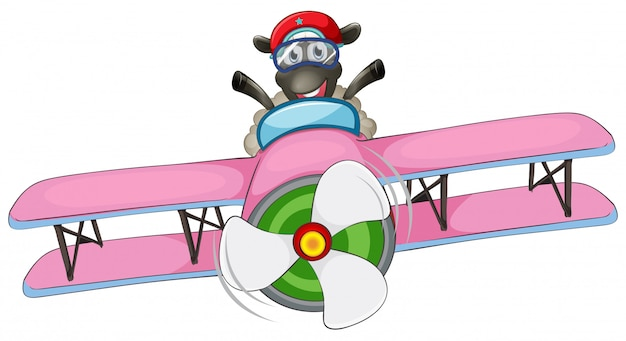A sheep riding airplane Free Vector