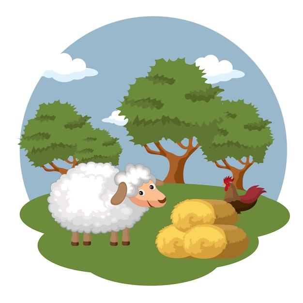 Sheep and rooster next to bale of hay Premium Vector