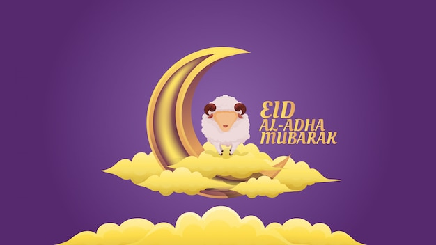 Sheep on top of cloud and crescent moon illustration for eid al adha muslim celebration Premium Vector