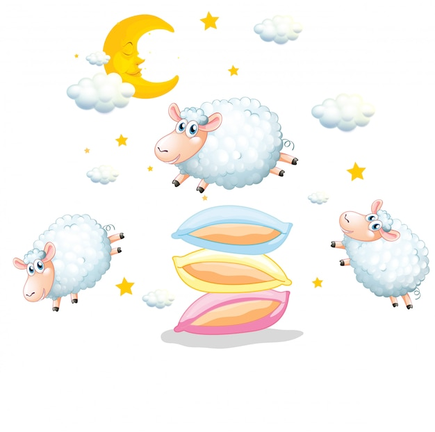 Sheeps jumping over the pillows on white Free Vector