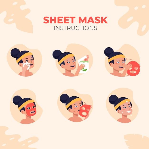 シートマスク説明書集 Premiumベクター