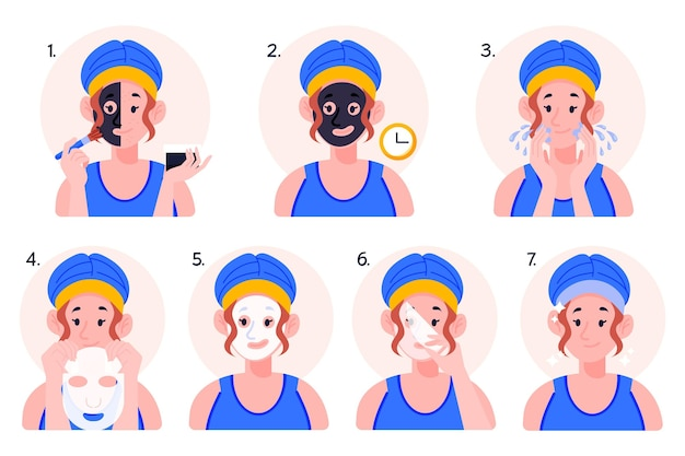 シートマスクの指示の概念 無料ベクター