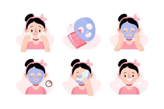 Иллюстрированные инструкции по маске листа Бесплатные векторы
