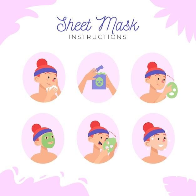 シートマスク説明書セット 無料ベクター