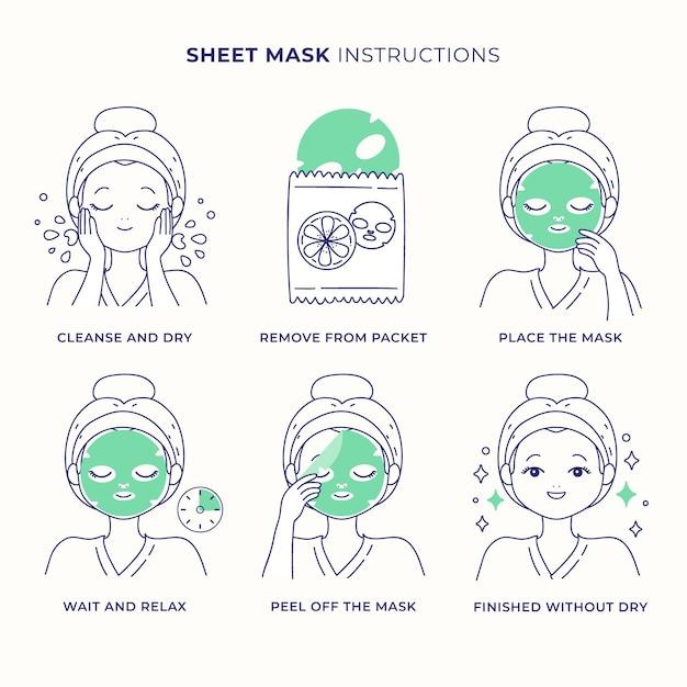 Набор инструкций по маске листа Бесплатные векторы