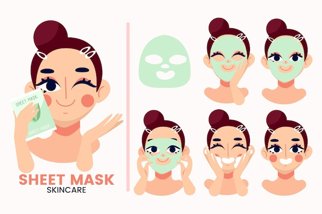 Sheet mask instructions Free Vector