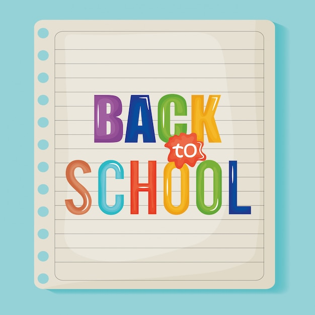 Sheet of notebook paper back to school message Free Vector