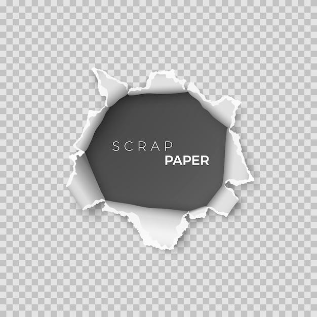 Лист бумаги с отверстием внутри. шаблон реалистичной страницы макулатуры с грубым краем для баннера. иллюстрация на прозрачном фоне Premium векторы
