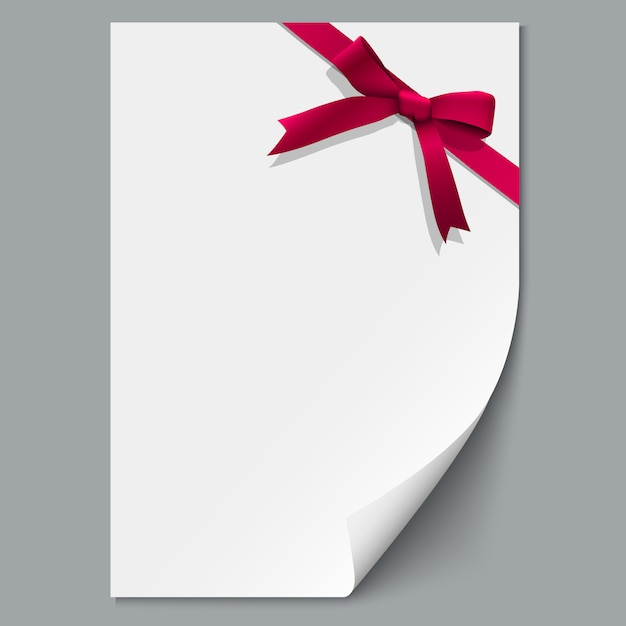 Sheet paper and red ribbon with gift bow Premium Vector