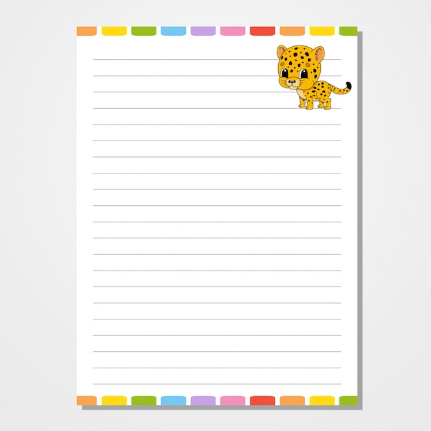 Sheet template for notebook, notepad, diary. Premium Vector