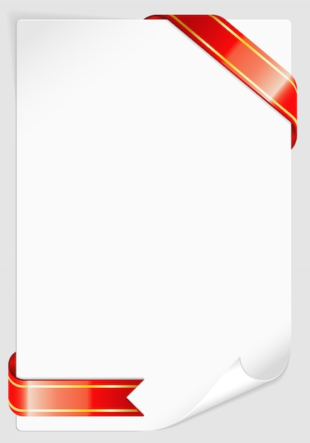 Sheet of white paper with ribbon Premium Vector