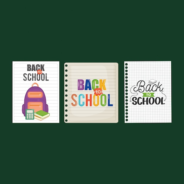 Sheets of notebook with back to school message Free Vector
