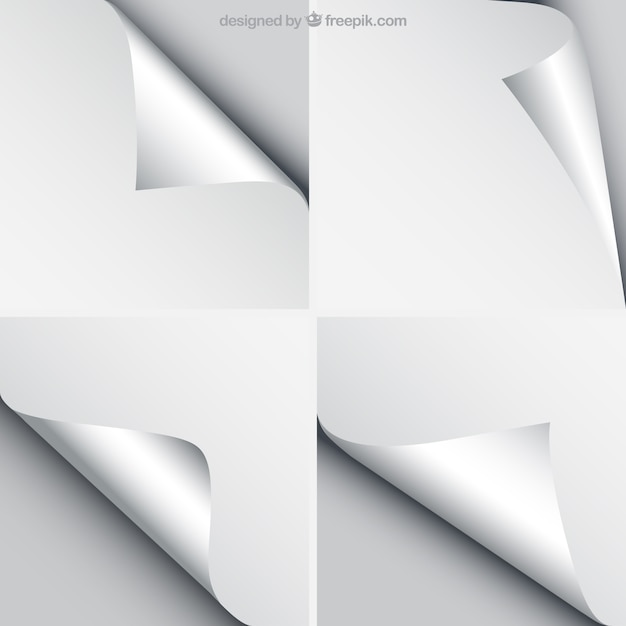 Sheets of paper with curled corners Free Vector