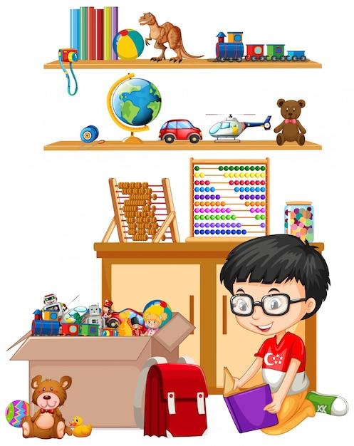 棚とボックスに白のおもちゃがいっぱい 無料ベクター
