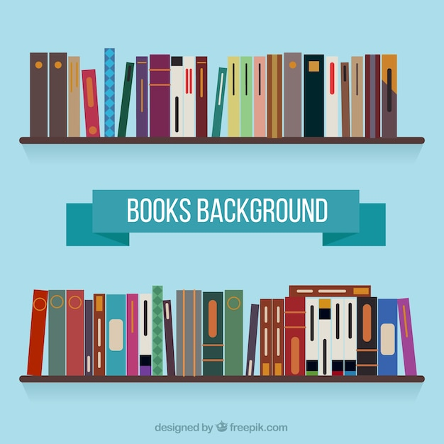 Shelf background with books in flat design Free Vector