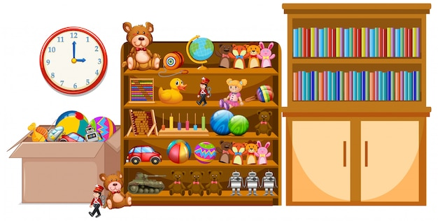 Shelf and bookshelfe full of books and toys Free Vector