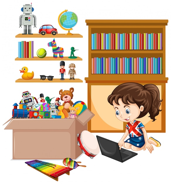 Shelf and box full of toys isolated Free Vector