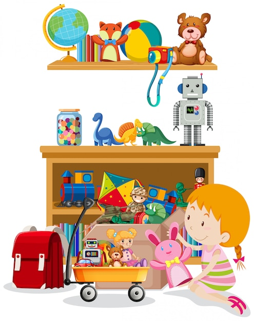 Shelf and box full of toys on white Free Vector