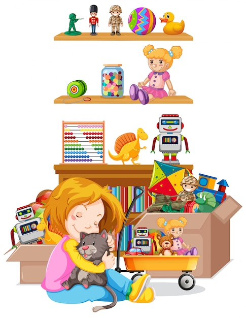 Shelf full of books and toys on white background Free Vector