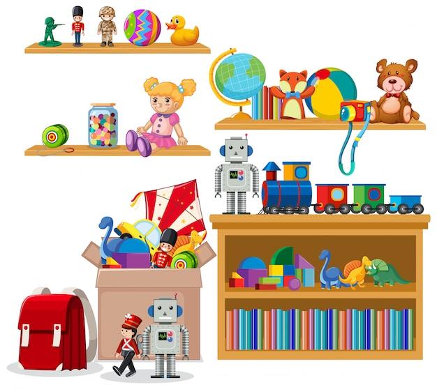 Scaffale pieno di libri e giocattoli su sfondo bianco Vettore gratuito