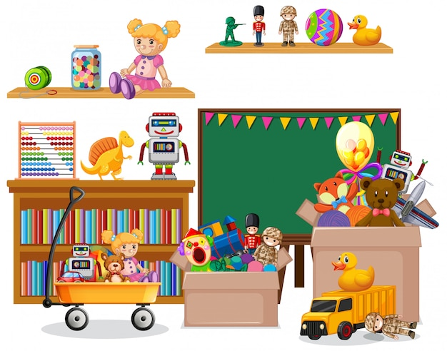 Shelf full of books and toys on white Free Vector