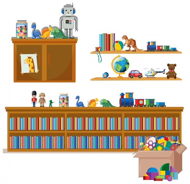 Shelf full of books and toys on white Free Vector