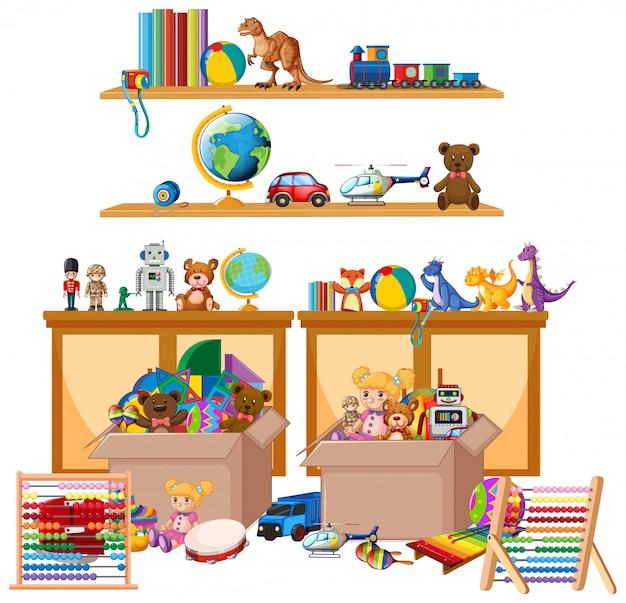 Scaffale pieno di libri e giocattoli su bianco Vettore gratuito