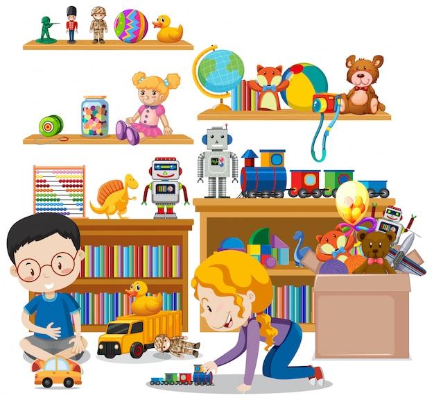 Shelf full of books and toys on white Premium Vector