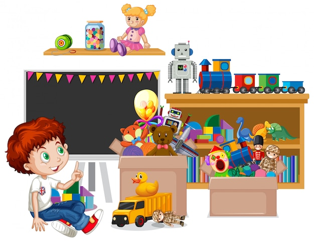 Shelf full of books and toys Free Vector