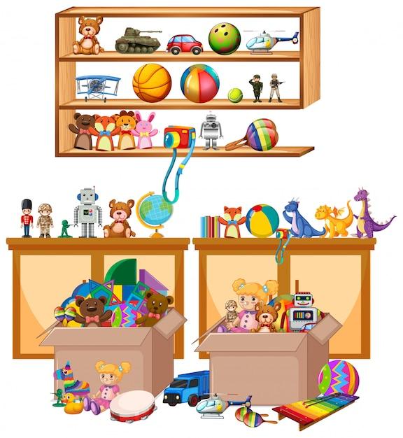 本やおもちゃの白の棚 無料ベクター