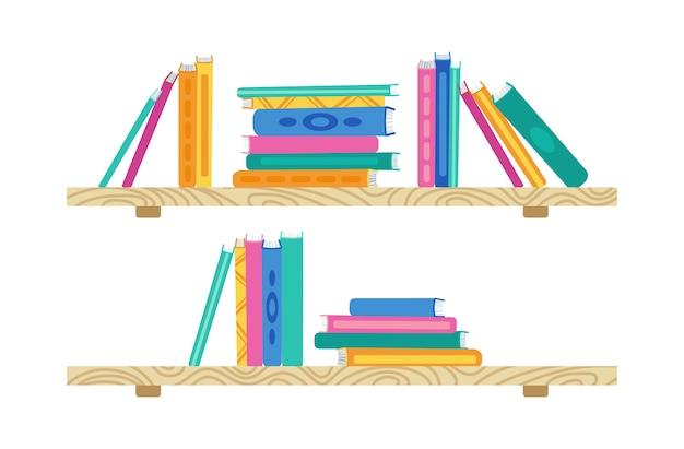 漫画本の棚。ライブラリ内の木製の本棚。書籍コレクションのフラットスタック。オフィスの棚、壁のインテリア研究、学校の本棚、本棚。図 Premiumベクター