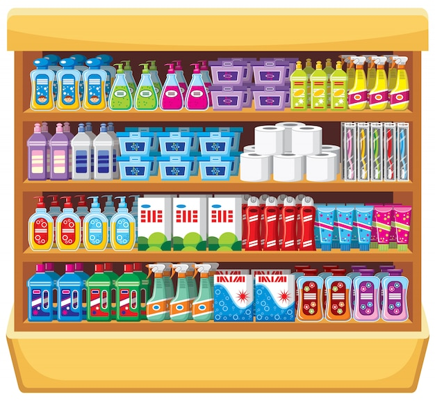 Shelfs with household chemicals. Premium Vector