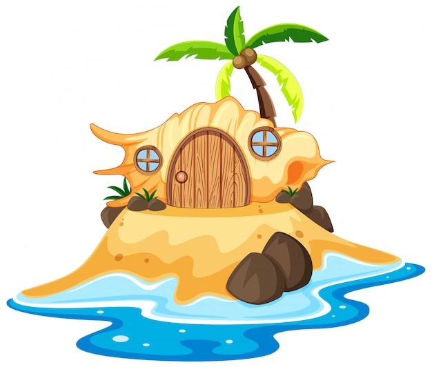 Раковина сказочного дома на пляже в мультяшном стиле на белом фоне Бесплатные векторы