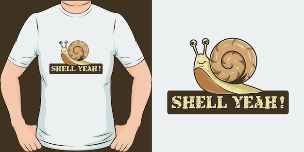 Shell да. уникальный и модный дизайн футболки Premium векторы