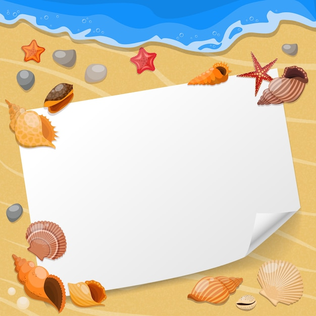 Shells and sea stars composition a sheet of paper on the beach with seashells Free Vector