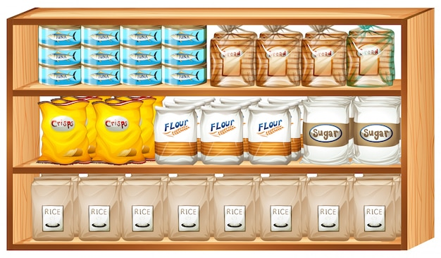 Shelves full of different kinds of food Free Vector