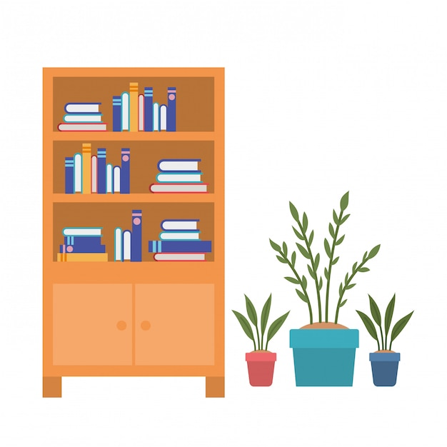 Shelving with books on white Premium Vector