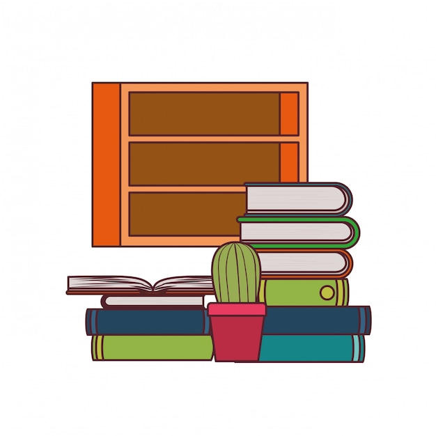 Shelving with books Free Vector