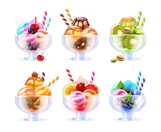 Sherbet icecream glass set Free Vector