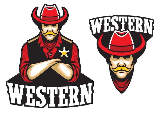 Sheriff crossed arm mascot Premium Vector