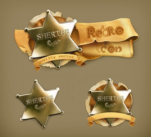 Sheriff, retro icon Premium Vector