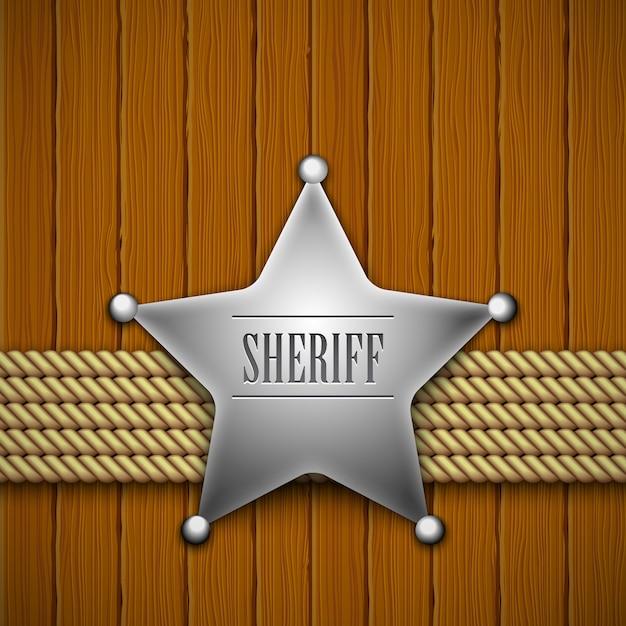 木の保安官のバッジ Premiumベクター
