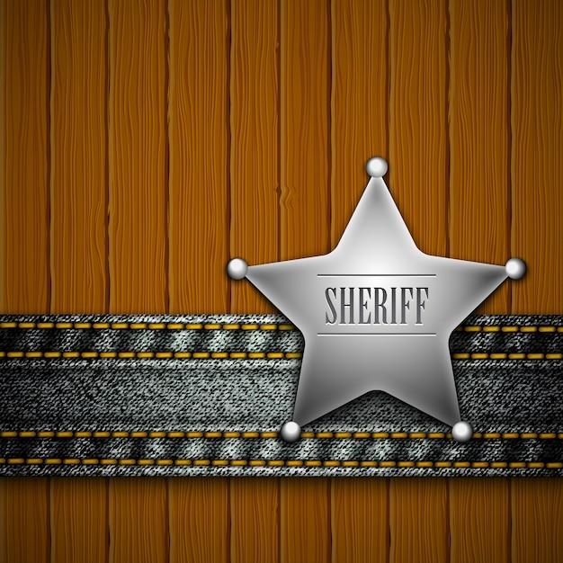 木材にデニムの要素を持つ保安官のバッジ Premiumベクター