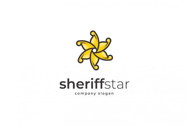 保安官星のロゴのテンプレート Premiumベクター