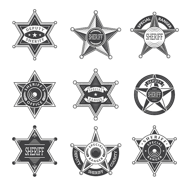 Sheriff stars badges. western star texas and rangers shields or logos vintage  pictures Premium Vector
