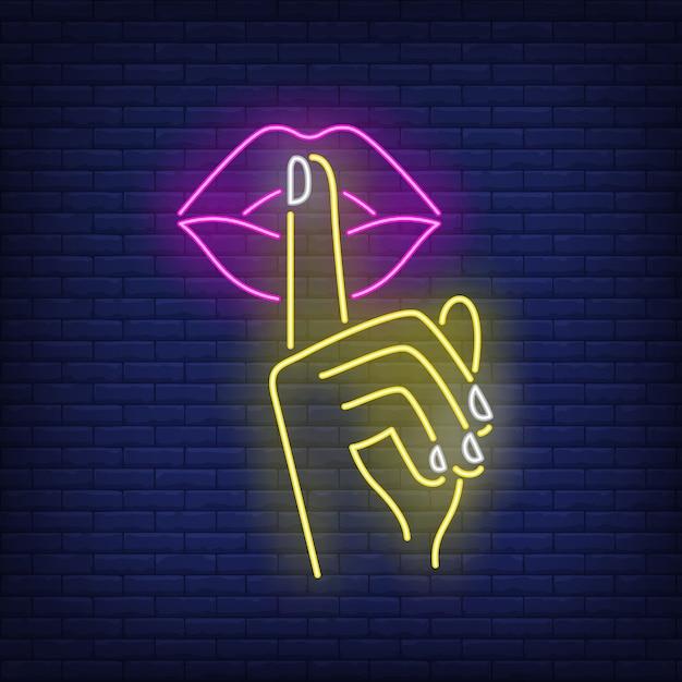 Shh gesture neon sign Free Vector