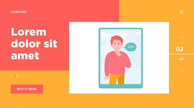 Shh man on tablet computer screen. finger, silence, speech bubble. communication and message concept for website design or landing web page Free Vector