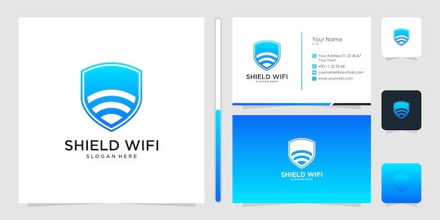 Shied wifi logo design and business card Premium Vector